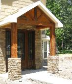 Front Porch with Wood and Stone (complete exterior remodel)
